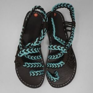 Shoes - Brown/blue Rope Cord Sandals